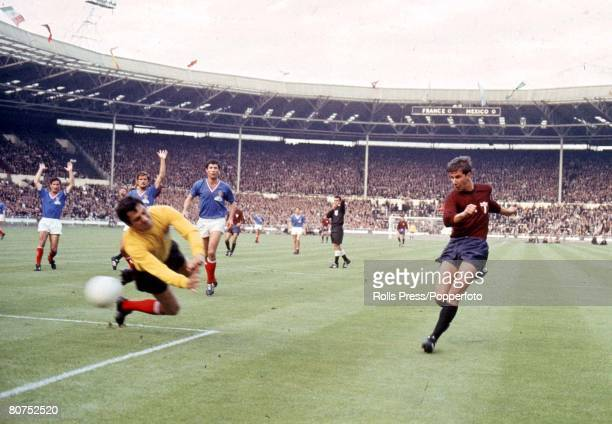 World Cup Finals Wembley England 13th July France 1 v Mexico 1 French goalkeeper Marcel Aubour makes a save from a Mexican attacker during their...