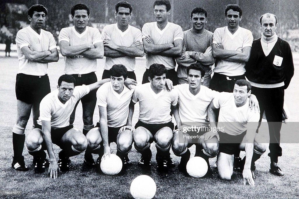 World Cup Finals, 1966. White City Stadium, England. 15th July, 1966. Uruguay 2 v France 1. The Uruguayan team before their Group One match. : News Photo