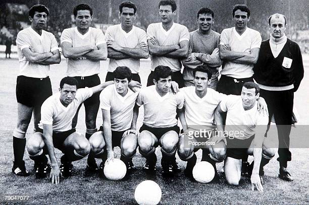World Cup Finals White City Stadium England 15th July Uruguay 2 v France 1 The Uruguayan team before their Group One match