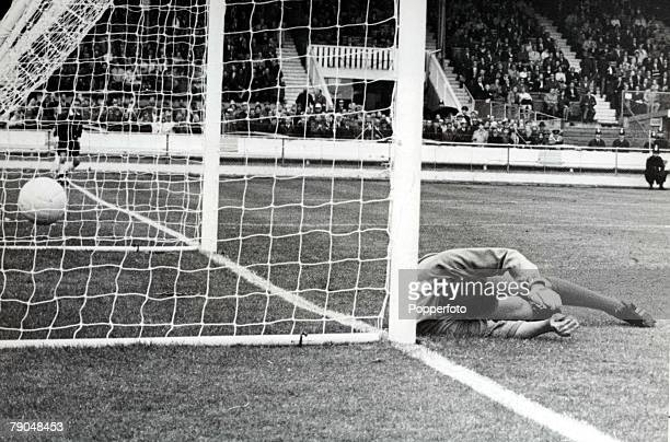 World Cup Finals White City Stadium England 15th July Uruguay 2 v France 1 Uruguay's goalkeeper Ladislao Mazurkiewicz is beaten by a penalty from...