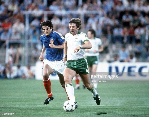 World Cup Finals Zaragoza Spain 17th June Yugoslavia 0 v NIreland 0 Northern Ireland's Gerry Armstrong is marked closely by Yugoslavia's Ivan Gudelj