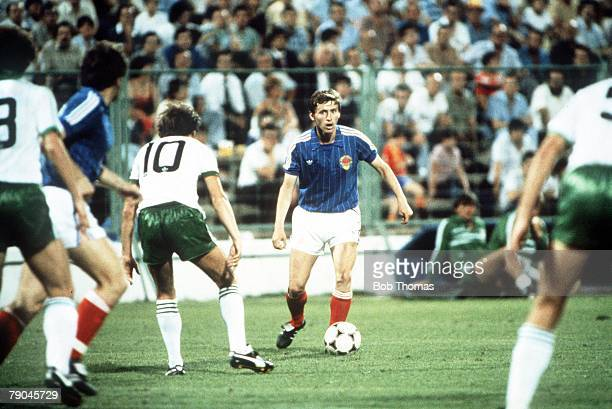 World Cup Finals Zaragoza Spain 17th June Yugoslavia 0 v NIreland 0 Yugoslavia's Vladimir Petrovic is faced by Northern Ireland's Sammy McIlroy