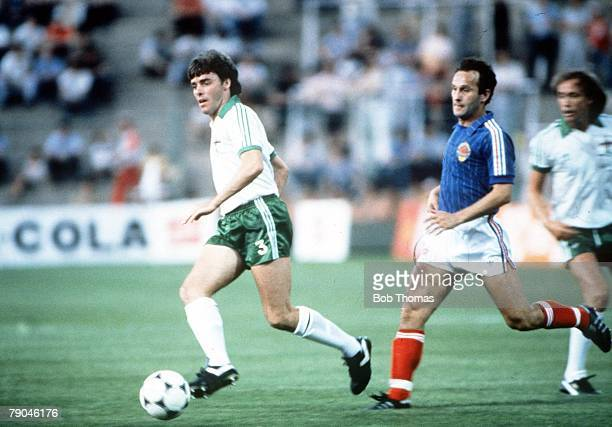 World Cup Finals Zaragoza Spain 17th June Yugoslavia 0 v NIreland 0 Northern Ireland's Mal Donaghy races Yugoslavia's Edhem Slijio for the ball