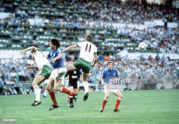 World Cup Finals Zaragoza Spain 17th June Yugoslavia 0 v NIreland 0 Northern Ireland's Sammy McIlroy and Billy Hamilton outjump Yugoslavia's Nikola...