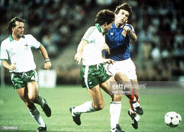 World Cup Finals Zaragoza Spain 17th June Yugoslavia 0 v NIreland 0 Northern Ireland's captain Martin O'Neill is blocked by Yugoslavia's Safat Susic...