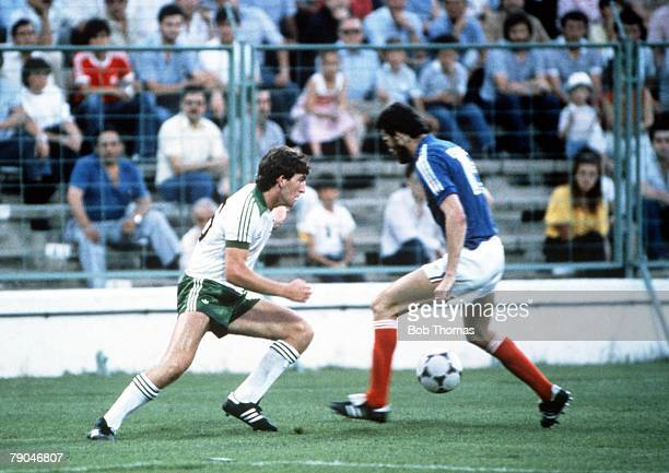 World Cup Finals Zaragoza Spain 17th June Yugoslavia 0 v NIreland 0 Northern Ireland's Norman Whiteside is faced by Yugoslavia's Milos Hrstic