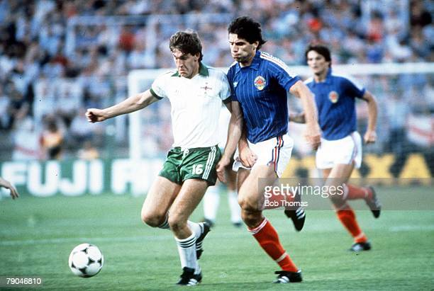 World Cup Finals Zaragoza Spain 17th June Yugoslavia 0 v NIreland 0 Northern Ireland's Norman Whiteside holds off Yugoslavia's Nikola Jovanovic