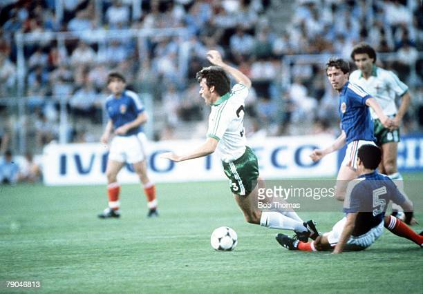 World Cup Finals Zaragoza Spain 17th June Yugoslavia 0 v NIreland 0 Northern Ireland's Mal Donaghy is fouled by Yugoslavia's Nenad Stojkovic