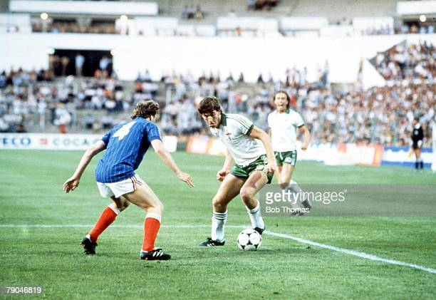 World Cup Finals Zaragoza Spain 17th June Yugoslavia 0 v NIreland 0 Northern Ireland's Norman Whiteside is faced by Yugoslavia's Velimir Zajec