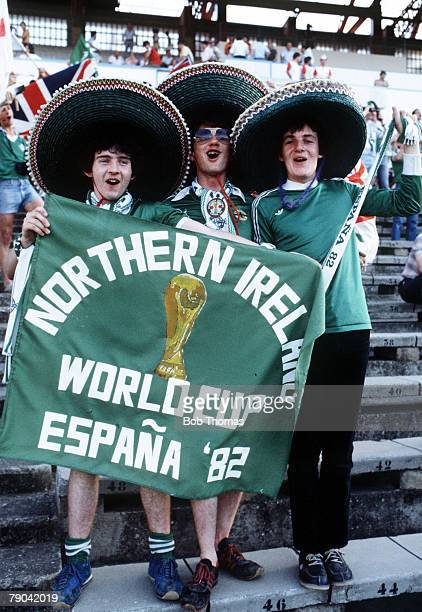 World Cup Finals Zaragoza Spain 17th June Yugoslavia 0 v Northern Ireland 0 Northern Ireland fans wearing sombreros and holding a banner at the match