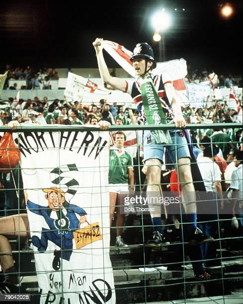 World Cup Finals Zaragoza Spain 17th June Yugoslavia 0 v Northern Ireland 0 Northern Ireland fans celebrate after the match