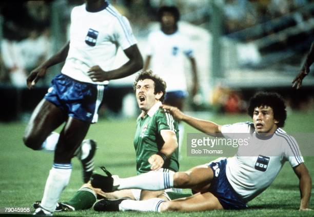 World Cup Finals Zaragoza Spain 21st June Honduras 1 v NIreland 1 Northern Ireland's Gerry Armstrong is grounded with Honduras player Hector Zelaya