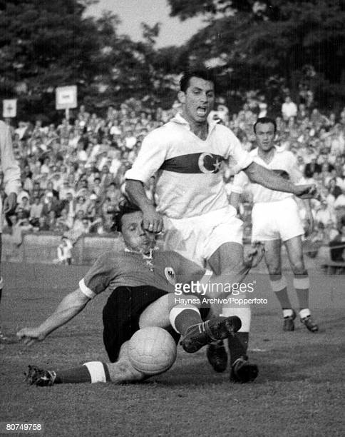 World Cup Finals Zurich Switzerland 23rd June Germany 7 v Turkey 2 A Turkish defender tries in vain to stop Germany's Morlock from scoring a goal...