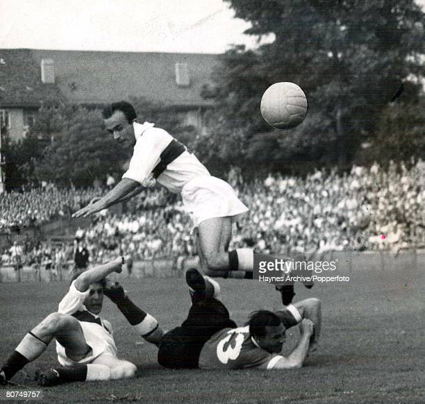 World Cup Finals Zurich Switzerland 23rd June Germany 7 v Turkey 2 Two Turkish defender fail to stop Germany's Morlock from scoring a goal during...
