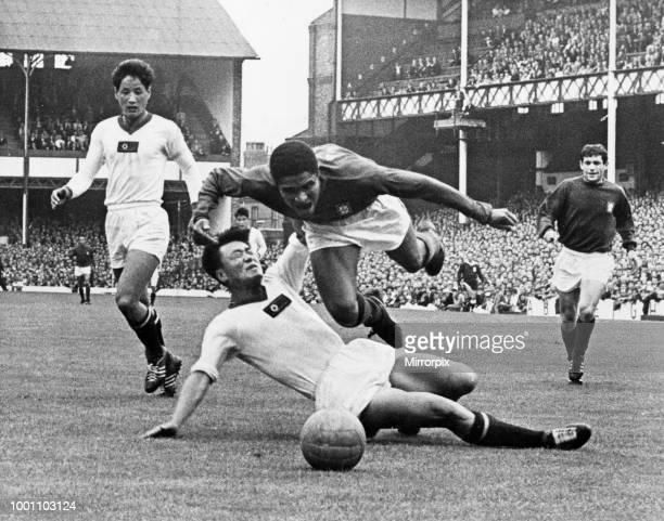 World Cup First Quarter Final match at Goodison Park, Liverpool. Portugal 5 v North Korea 3. Eusebio of Portugal takes a flying dive after a foul by...