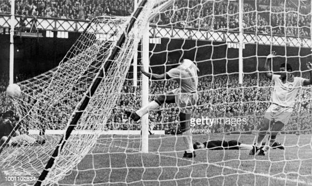 World Cup First Round Group Three match at Goodison Park, Liverpool. Brazil 2 v Bulgaria 0. Jair lashes the ball into the net in celebration after...