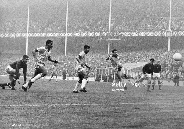 World Cup First Round Group Three match at Goodison Park, Liverpool. Hungary 3 v Brazil 1. Tostao scores the equalising goal for Brazil as teammates...