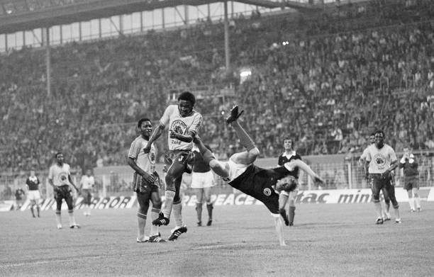 World Cup First Round Group Two match at the Westfalenstadion, Dortmund, West Germany. Zaire 0 v Scotland 2. Denis Law in action in the Zaire penalty...