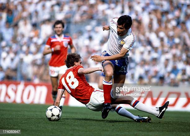 World Cup Football 1982 France v England Gerard Soler is tackled by Phil Thompson