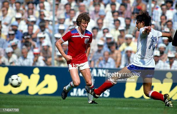 World Cup Football 1982 France v England Graham Rix is stopped by Jean Larios