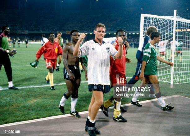 World Cup Football 1990 England v Cameroon Paul Gascoigne celebrates as he leaves the field after England's victory