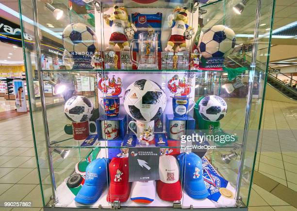 World Cup football souvenir marketing shop with Adidas on June 29 2018 in Kazan Tatarstan Russia