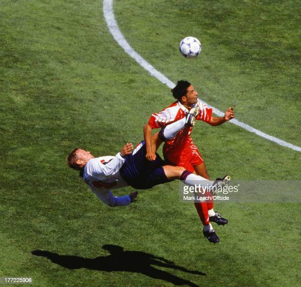 World Cup France '98 England v Tunisia David Batty catches Imed Ben Younes in the face as he attempts an overhead kick