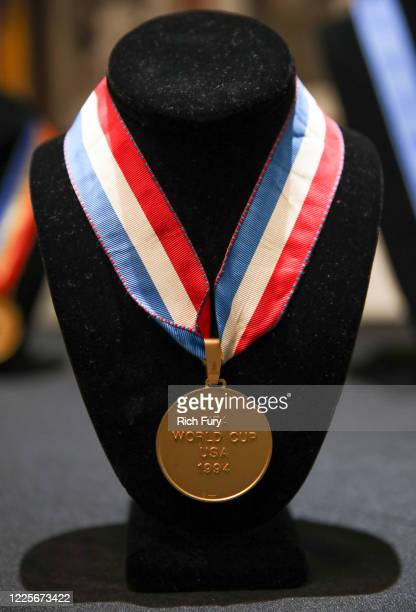 World Cup gold winner's medal is displayed at a press preview for sports legends featuring Kobe Bryant, FIFA and Olympic Medals at Julien's Auctions...