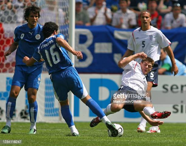 World Cup Group B, England v Paraguay, Steven Gerrard of England blocks a shot from Cristian Riveros of Paraguay and earns a yellow card.
