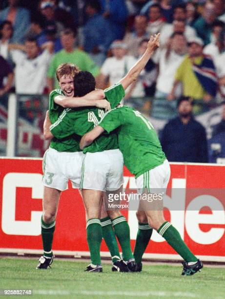 World Cup Group F match at the Stadio Sant'Elia in Cagliari Italy England 1 v Republic of Ireland 1 Kevin Sheedy is congratulated by teammates Steve...