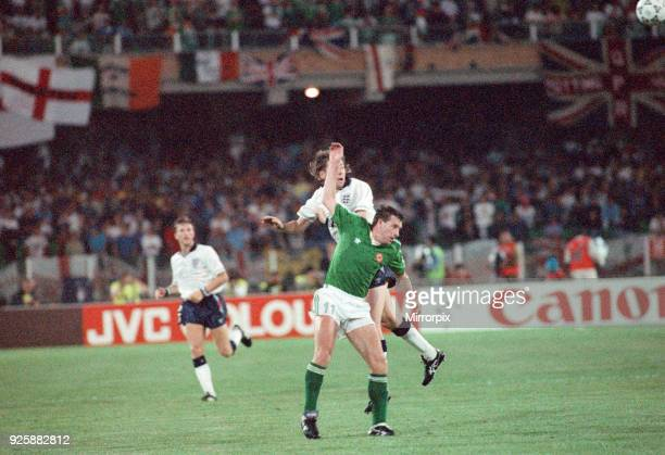 World Cup Group F match at the Stadio Sant'Elia in Cagliari Italy England 1 v Republic of Ireland 1 Kevin Sheedy battles for the aerial ball with...