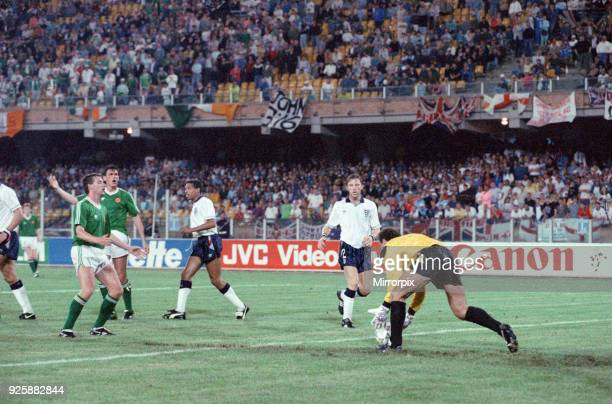 World Cup Group F match at the Stadio Sant'Elia in Cagliari Italy England 1 v Republic of Ireland 1 England goalkeeper Peter Shilton picks up the...