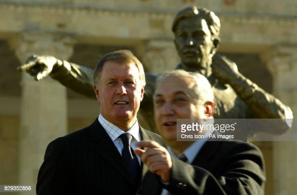 World Cup hattrick hero Sir Geoff Hurst after unveiling a statue to the 'Russian Linesman' Tofiq Behramov at the Tofiq Behramov Stadium in Baku...