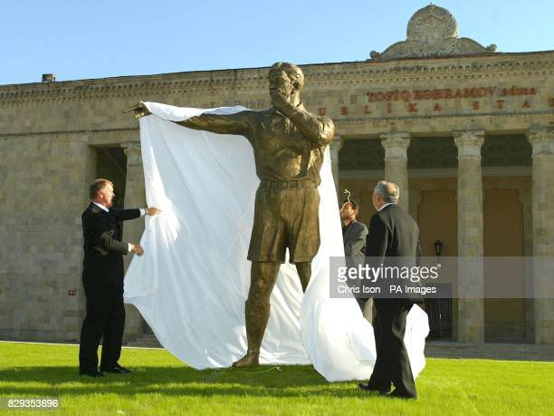 World Cup hattrick hero Sir Geoff Hurst unveils a statue to the 'Russian Linesman' Tofiq Behramov at the Tofiq Behramov Stadium in Baku Azerbaijan...