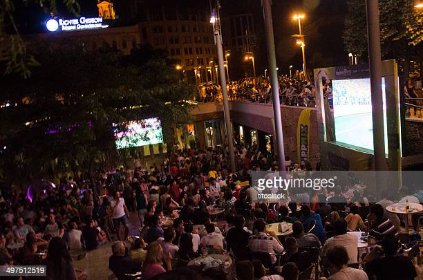 world cup in budapest - large scale screen stock photos and pictures