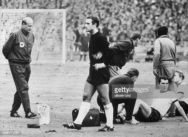 1966 FIFA World Cup in England Final before 97000 spectators at Wembley Stadium London England 4 2 Germany Germany players are recovering after the...