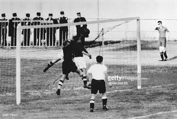 1938 FIFA World Cup in France Round of 16 replay in Paris Germany 2 4 Switzerland The Viennese German goalkeeper Rudolf Raftl saving with his fist