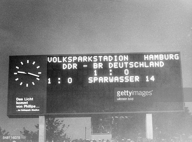 1974 FIFA World Cup in Germany First round Group 1 in Hamburg West Germany 0 1 East Germany the scoreboard with the final result
