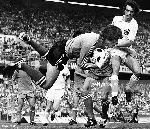 1974 FIFA World Cup in Germany First round Group 2 in Frankfurt Yugoslavia 1 1 Scotland Scene of the match goalie Maric catching the ball before...