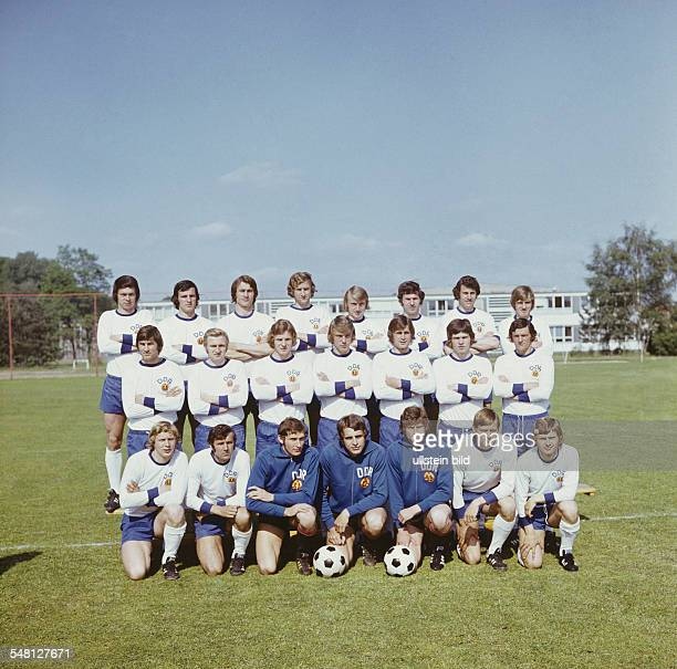 1974 FIFA World Cup in Germany Group photo of the East Germany team at their training camp in Kienbaum East Germany Front row from left Gerd Kische...
