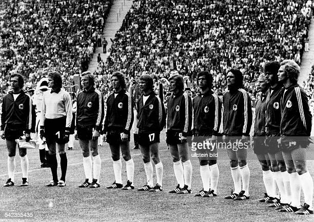 1974 FIFA World Cup in Germany lineup of the German national team before the final against the Netherlands at the Olympic Stadium in Munich| from...