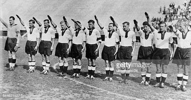 World Cup in Italy First round match in Florence, Italy: Germany 5 - 2 Belgium. The German line-up showing the Hitler salute, from the left:...