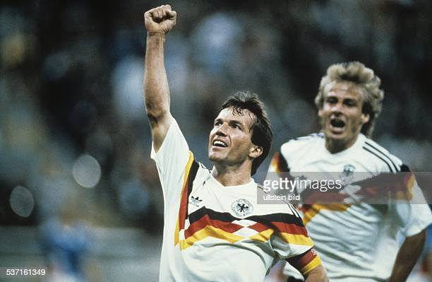 1990 FIFA World Cup in Italy Lothar Matthaeus * Football player Germany member of the national team Lothar Matthaeus celebrating after scoring a goal...