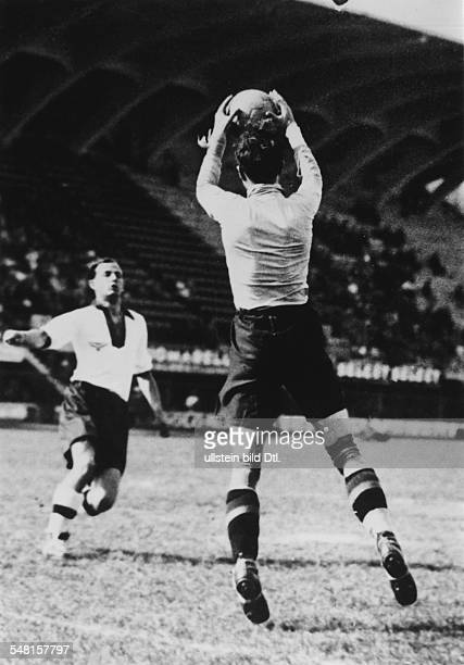 1934 FIFA World Cup in Italy Round of 16 in Florence Italy Germany 5 2 Belgium Scene of the match Belgian goalkeeper Andre Vandewyer catching the...