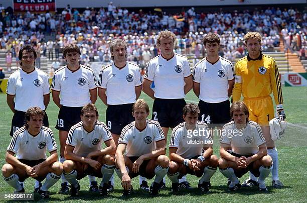 1986 FIFA World Cup in Mexico Germany lineup before the first round match against Scotland Front row from left Matthaeus Augenthaler Foerster...
