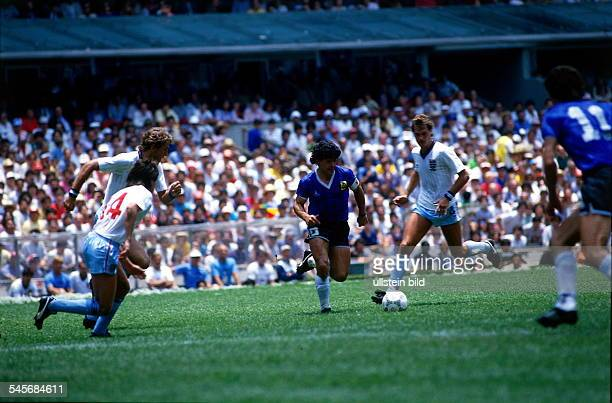 1986 FIFA World Cup in Mexico Quarterfinal Argentina 2 1 England Scene of the match Diego Maradona on the ball