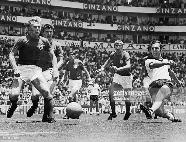 1970 FIFA World Cup in Mexico Quarterfinal in Leon Germany 3 2 England Scene of the match shot by Franz Beckenbauer | left England player Bobby Moore