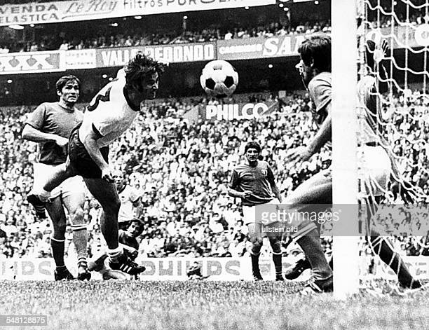 1970 FIFA World Cup in Mexico Semifinal in Mexico City Germany 3 4 Italy Gerd Mueller scoring the 3 3 equalizer in the extra time