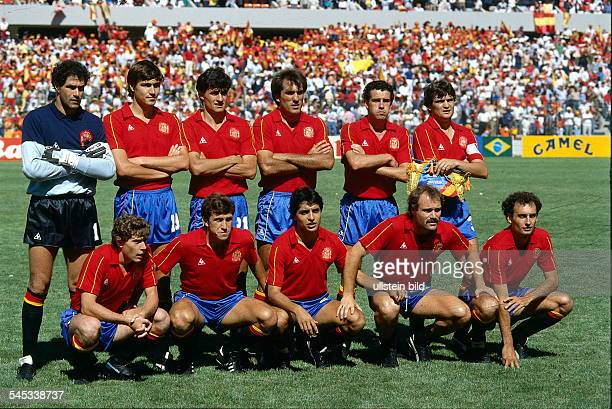 1986 FIFA World Cup in Mexico Spain lineup before the round of 16 match against Denmark