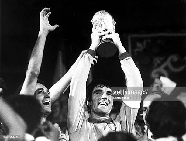 1982 FIFA World Cup in Spain Final in Madrid Italy 3 1 Germany Italy captain Dino Zoff the goalie raising the World Cup trophy after the award...